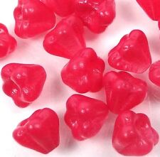 25 Czech Glass Baby Bell Flower Beads - Coated Raspberry Sorbet 6x4mm