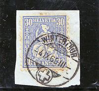 Schweiz-Schweizerische Bundespost-1868-sitzende Helvetia-Briefstück 33 b gebrauc