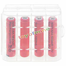 4pcs 3A AAA 1800mah NiMH 1.2v  Red Rechargeable Battery +1pcs Plastic case