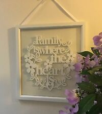 White Wood & Glass Family Sign Gisela Graham Vintage New Home Gift Heart Words