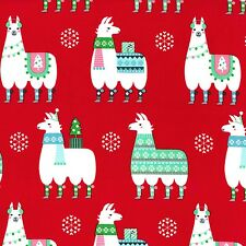 Michael Miller Fabric Llama Navidad Red Llama, Alpaca on Red By The Yard! Cotton