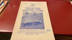 LOTON PARK---SPEED HILL CLIMB-----PROGRAMME--20TH OCTOBER 1963