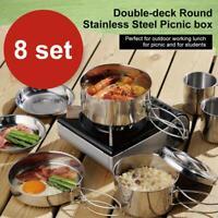 8PCS Outdoor Camping Cookware Stainless Steel Cooking Picnic Bowl Pot Pan Set