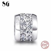 925 Sterling Silver White Zircon Charm Bead Pendant Jewelry Making Gifts For Her