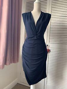 ASOS John Zack Plus Curve Sleeveless Plunge Navy Blue Mini Bodycon Dress Size 18