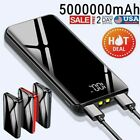 5000000mAh Portable Power Bank External Backup Charger 2USB&LCD Battery Pack US