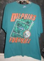 Miami Dolphins NFL Team NFL Vintage Aqua Green Dolphins Football Medium T-Shirt