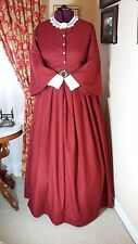 Civil War Reenactment Day Dress Size 18 Red w/Small Black Design Pagoda Sleeve