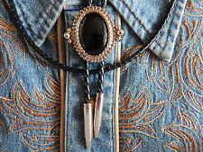 NUOVO Black Onyx Cravatta Bolo di Metallo Argento Punte di proiettile, Western, Cowboy, Goth