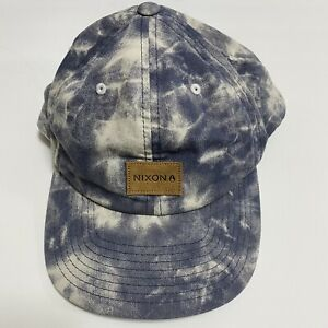 Nixon Snapback Hat Cloud Blue And White Distressed  With Leather Patch Cap