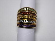 Sterling Chanel Band Amethyst Blue Topaz Citrine Garnet Peridot Ring Size 5