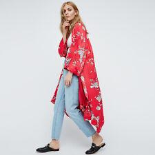 Plus Size Fashion Women Summer Chiffon Floral Kimono Cardigan Shawl Tops Blouses Blue S
