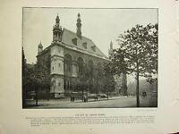1896 VICTORIAN LONDON PRINT + TEXT ~ THE CITY OF LONDON SCHOOL