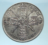 1914 United Kingdom Great Britain GEORGE V Silver Florin 2 Shillings Coin i78022