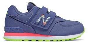 New Balance Infant 574 Scribble Pack Hook and Loop Shoes Blue with Pink