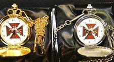 MASONIC KNIGHTS TEMPLAR POCKET WATCH GIFT SILVER / GOLD WITH / WITHOUT ENGRAVING