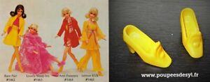 VINTAGE BARBIE paire de chaussures jaune orangé - pilgrim shoes yellow