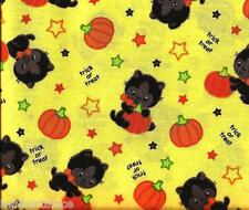 ~ BLACK CATS & PUMPKINS on Yellow Trick or Treat ~ 100% Cotton Quilt Fabric BTY