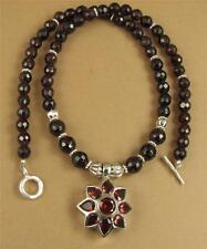 Red garnet necklace & earrings set. Sterling silver. Flower pendant. Handmade.