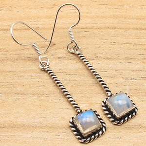 Online Store ! Price Start From $0.99 ! Silver Plated RAINBOW MOONSTONE Earrings