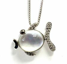 """New 925 sterling silver mother of pearl fish pendant 17.75"""" chain necklace 5.1g"""