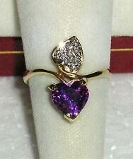 SOLID     14K Gold     AMETHYST    Diamond   Ring