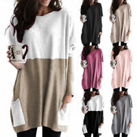 Women Crew Neck Long Sleeve T Shirt Casual Loose Pocket Blouse Solid Tunic Tops