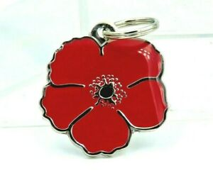 RED POPPY ANIMALS AT WAR REMEMBRANCE PET / DOG / CAT S/STEEL ENAMEL TAG