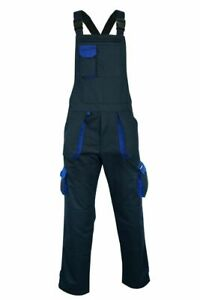 Work-wear Bib and Brace Overalls Cargo Pocket Tools Holder with Knee Pads Unisex