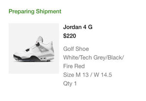 MENS AIR JORDAN 4 IV WHITE CEMENT GOLF SIZE 13 CONFIRMED ORDER DS BRED