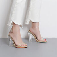 Womens Transparent Sandals Clear PVC High Heels Ankle Strappy Chunky Jelly