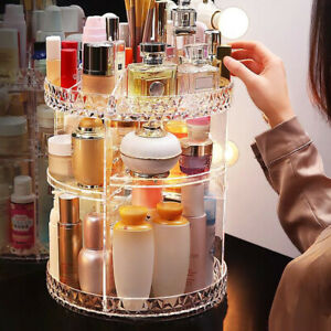 Plastic Cosmetic Makeup Organizer Storage Box Shelf 360 Rotating Display Acrylic