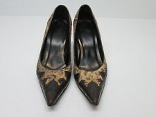 DONALD J PLINER COUTURE  BROWN LEATHER TAPESTRY POINTED TOE PUMPS WOMENS 7 M