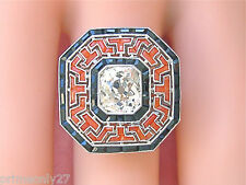 ESTATE ART DECO 2.1ct CUSHION DIAMOND ONYX HALO CORAL PLATINUM BIG COCKTAIL RING