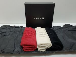 Chanel Set of 3 Embroidered CC Logo Cotton Face Towels NIB