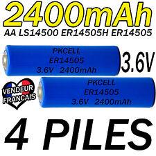 4 PILES ACCUS LITHIUM 3.6V AA ER14505 LS14500 ER14505H Li-socl2 2400Mah BATTERY