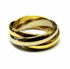 Cartier Authentic 18K Sold Tri-Color Gold Trinity Triple Band -size 8.25
