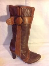 Schuh Brown Mid Calf Leather Boots Size 38