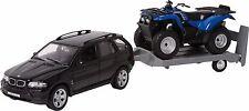 Modellauto Off-Road Set BMW X5 + Anhänger + Kawasaki Quad Modellfahrzeug 1:32