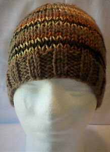 Camouflage & Brown Handmade Hand Knit Beanie Skull Hat Brand New fits Adults