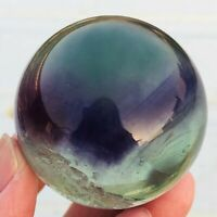 175g Natural Clear Green Rainbow Fluorite Crystal Sphere Healing Collection