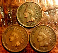 1906,1907,1908 INDIAN HEAD PENNY CENT PARTIAL LIBERTY RARE RELIC USA COIN #718A