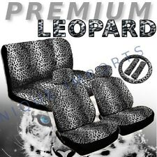 Snow Leopard Universal 11pc Car Seat Covers Animal Gray Pair Bench Steering Grey