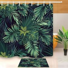 Dark Tropical Green Jungle Palm Leaves Shower Curtain Bath Mat Waterpoof Fabric