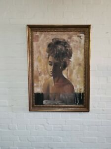 Large Framed Oil on Board Demure Woman 105cm x 75cm