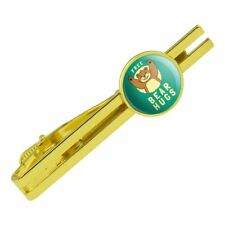 Free Bear Hugs Funny Humor Round Tie Bar Clip Clasp Tack Gold Color Plated