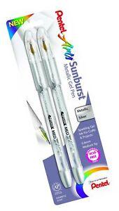 Pentel Arts Sunburst Metallic Gel Pen, Medium Line, Permanent, Silver Ink, 2 ...
