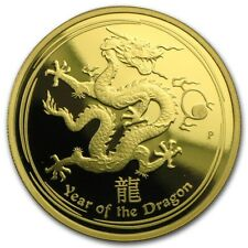 Australia 2012 Year of Dragon Lunar $25 1/4 Oz Pure Gold PROOF in FULL OGP
