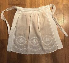 Pretty Vintage Lawn Cotton White Embroidery Tea Apron Pinny 1930s Belmont