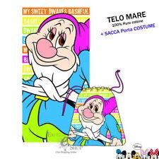 TELO MARE I SETTE NANI MAMMOLO + SACCA PORTA COSTUME DISNEY ASCIUGAMANO SPIAGGIA